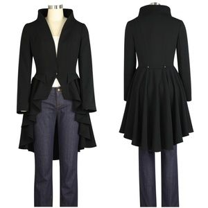 Jackets & Blazers - Plus Size Collar Long Tail High Low Jacket Coat